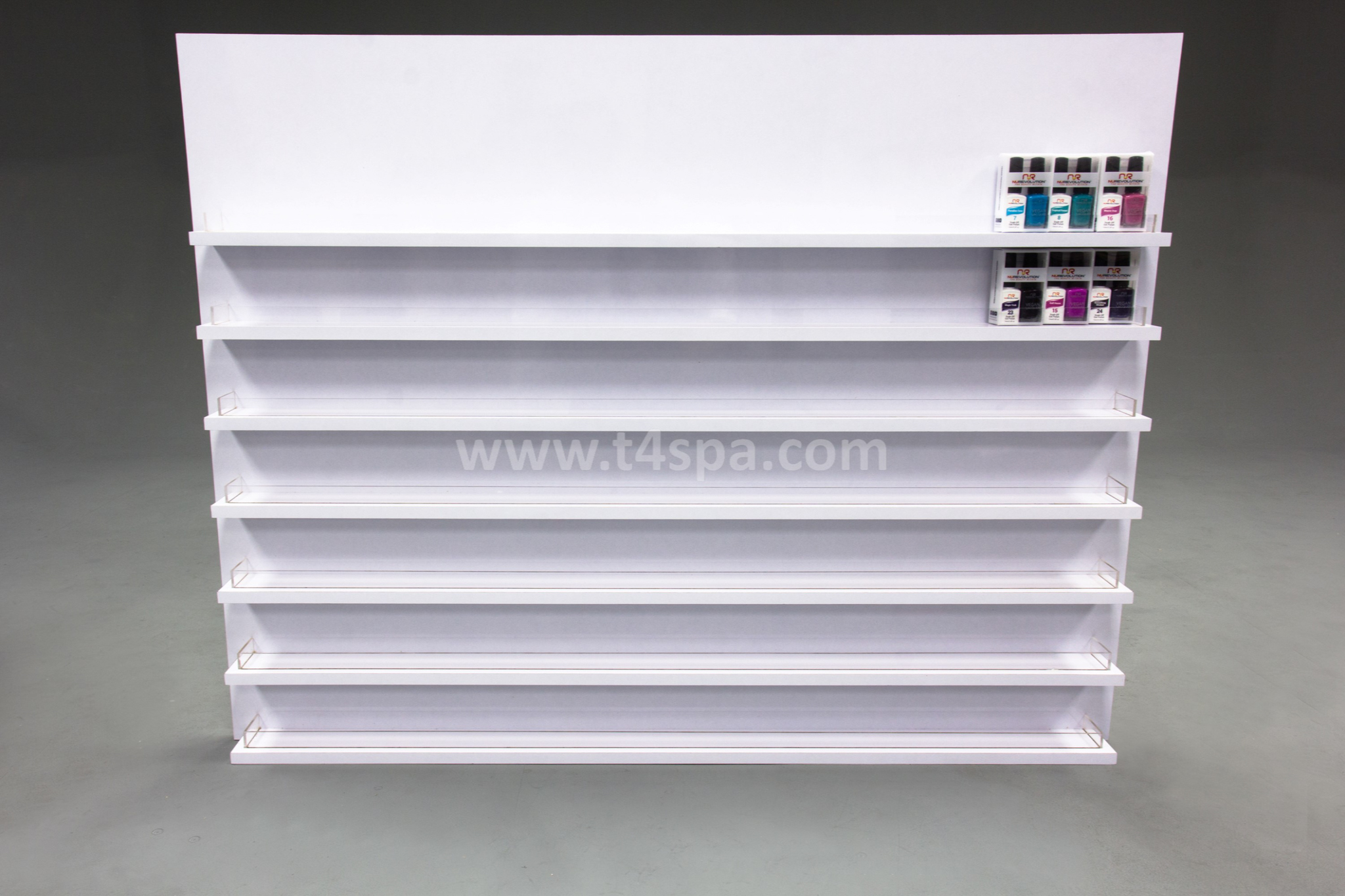 TD-9031 Wall Polish Rack Glossy White Detail (2)