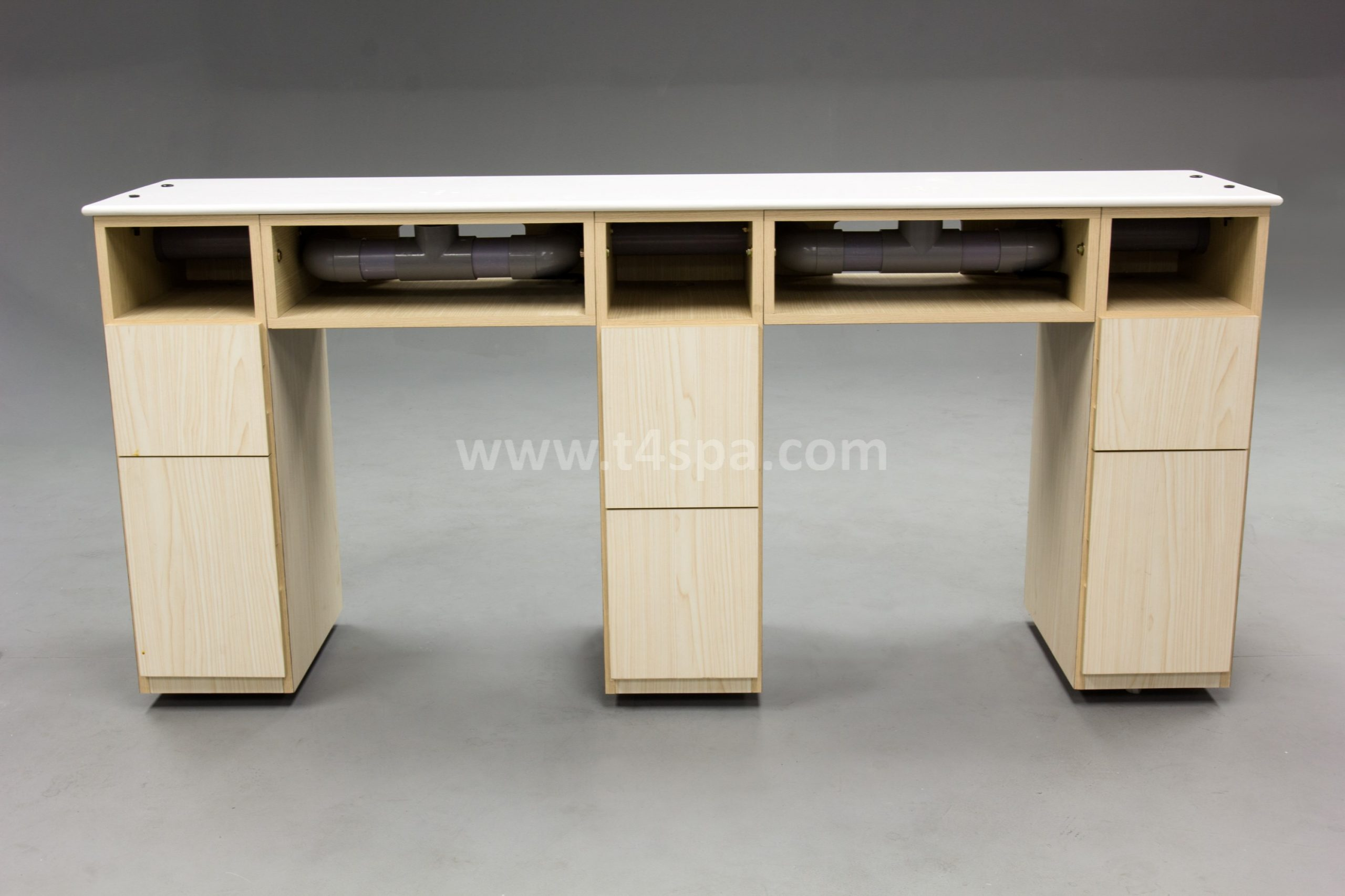 TD-589D Doube Nails Table Dark Wood + Light Top Mable White (1)